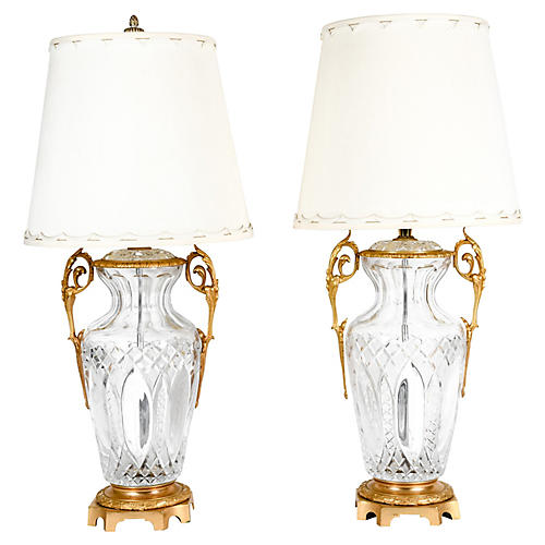 Bronze-Mounted Cut Crystal Lamps, Pair
