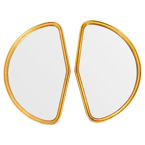 Giltwood Framed Wall Mirrors, Pair