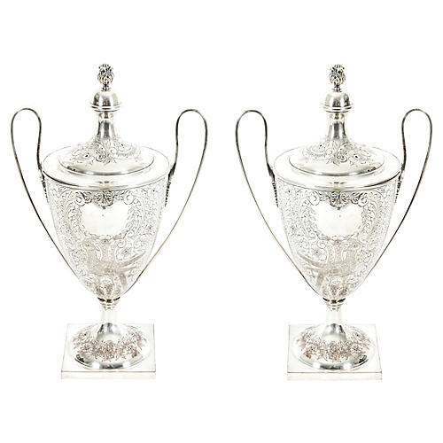 Pair Old English Plated Trophy Cup / Urn