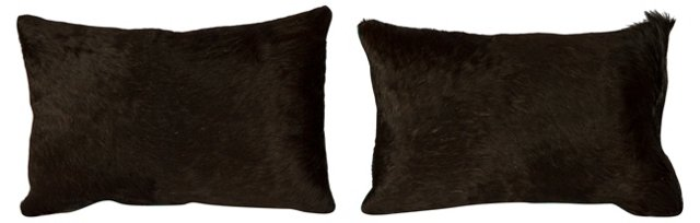 Black & Turquoise Cowhide Pillows, Pair
