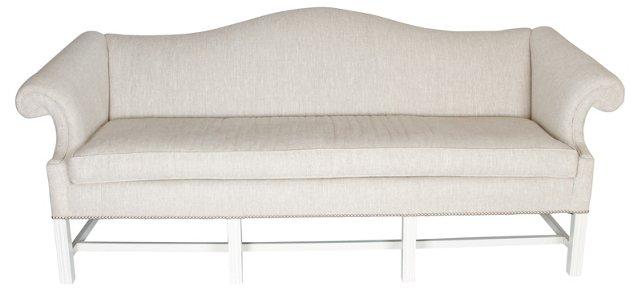Oatmeal Linen Camelback Sofa