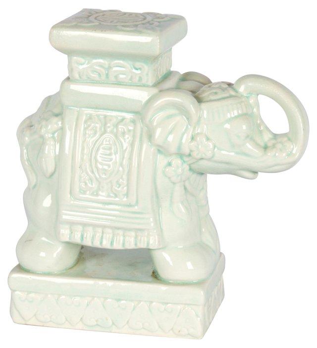 Mint Green Ceramic Elephant Figurine