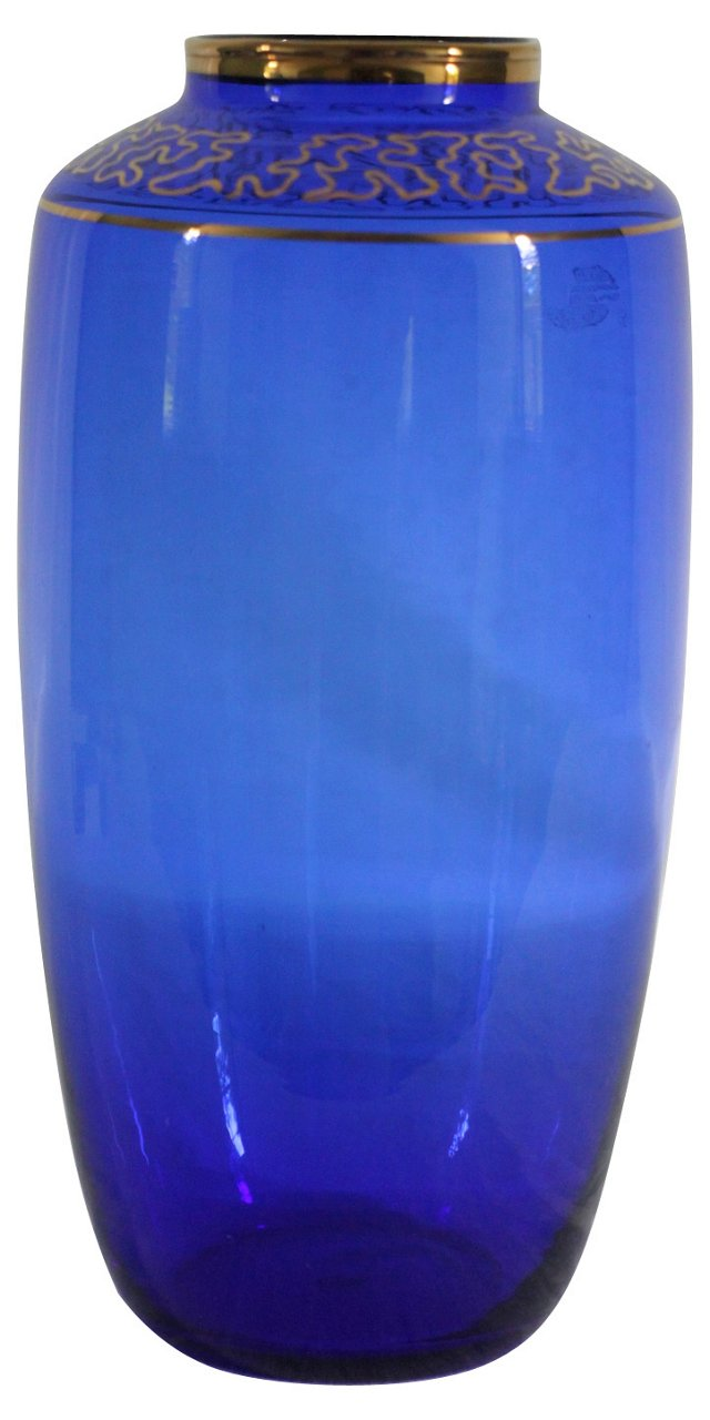 Blue & Gold Fretwork Vase