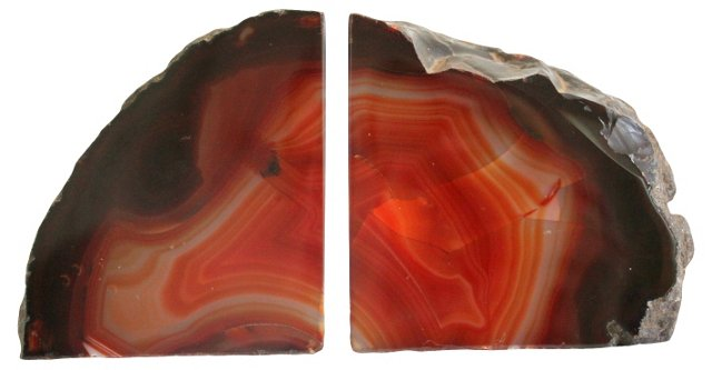 Amber Geode Bookends