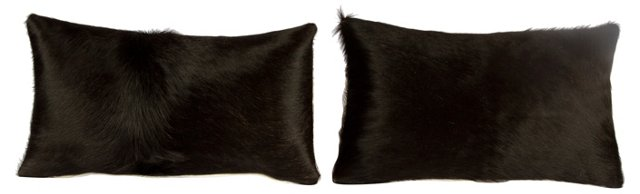 Black & Ivory Cowhide Pillows, Pair