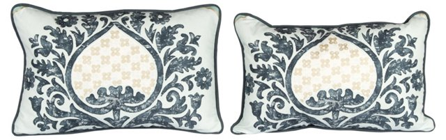 Rocaille Kidney Pillows, Pair