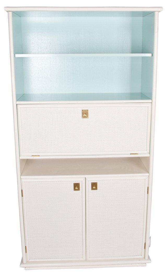 White &  Turquoise Rattan Bookshelf