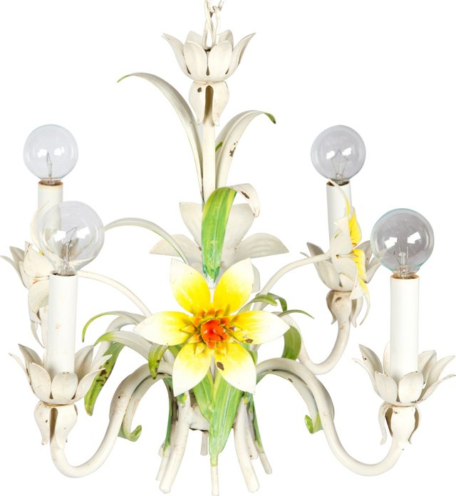 Yellow & Green Floral Tole Chandelier