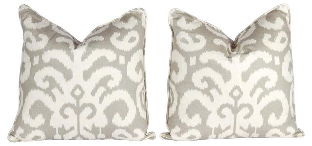 Taupe &  Ivory Ikat Pillows, Pair