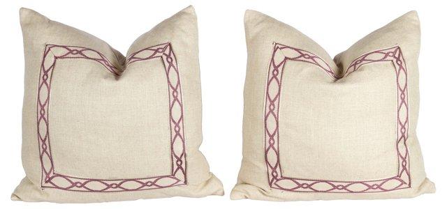 Oatmeal & Lavender Chain Pillows, Pair