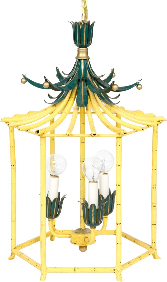 Yellow & Green Pagoda Chandelier