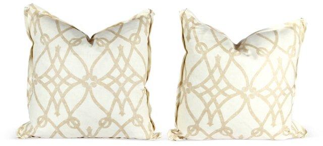 Ivory Trellis Pillows, Pair