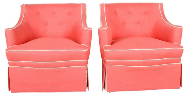 Pink Linen Club   Chairs, Pair