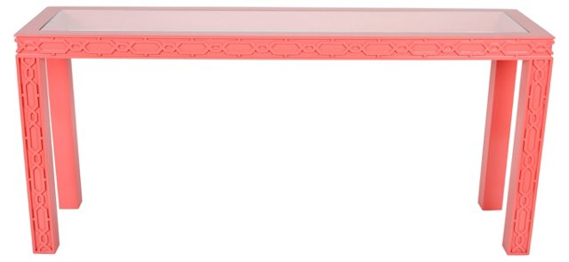 Pink Lacquered  Fretwork Console