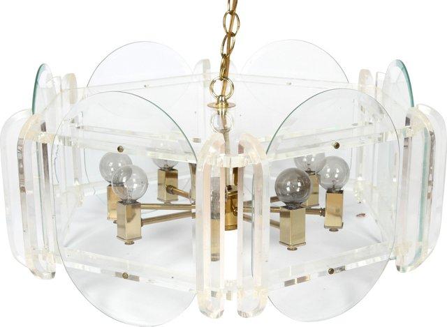 Lucite &  Glass Light Chandelier