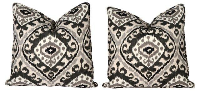 Black &  Gray Ikat Pillows, Pair