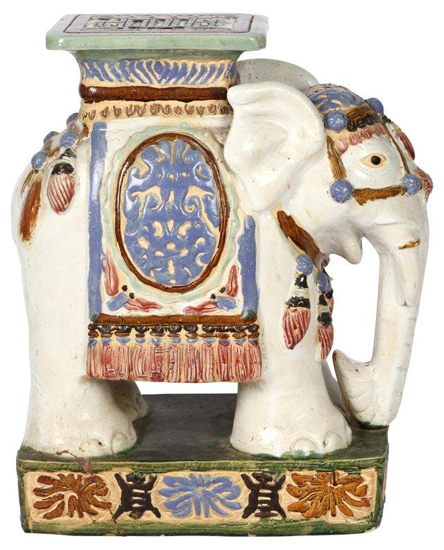 Glazed Elephant Garden Stool