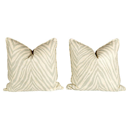 Seafoam Green Linen Zebra Pillows, Pr