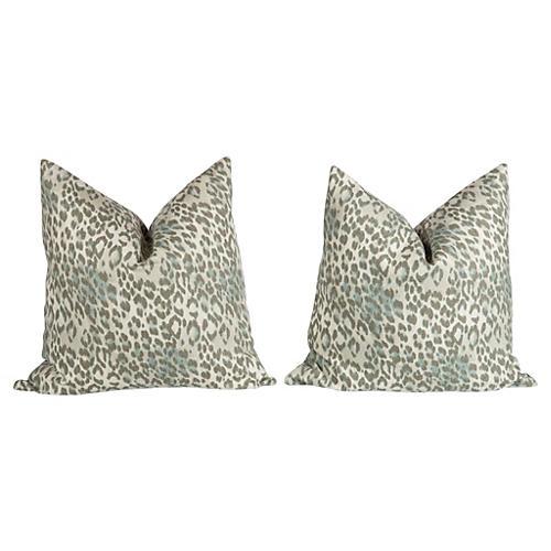 Pewter Gray Linen Leopard Pillows, Pair