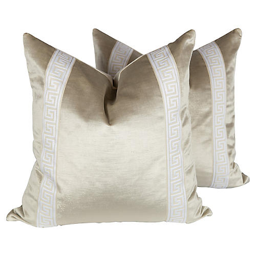 Oyster Velvet Greek Key Pillows, Pair