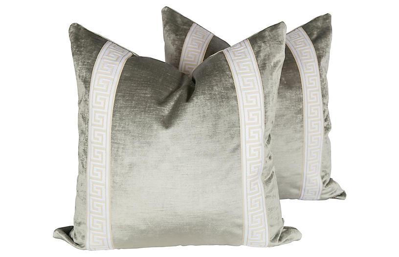 Platinum Velvet Greek Key Pillows, Pair