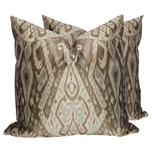 Taupe & Blue Sateen Ikat Pillows, Pair