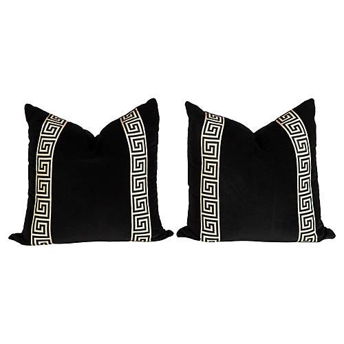 Black Velvet Greek Key Pillows, Pair
