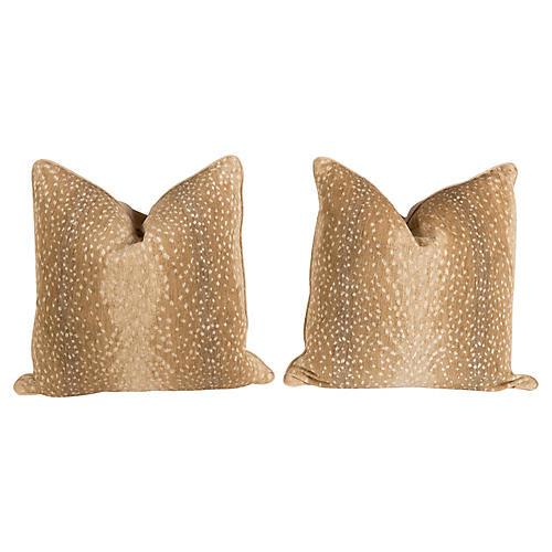 Khaki Antelope Pillows, Pair