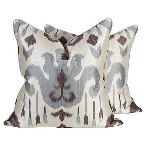 Ikat Pillows, Pair