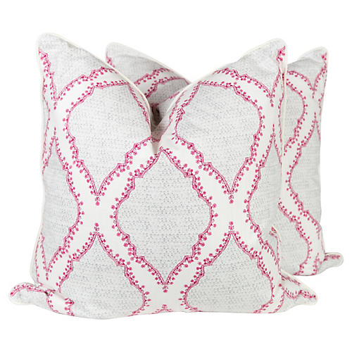 Grey and Raspberry Ogee Pillows, Pair