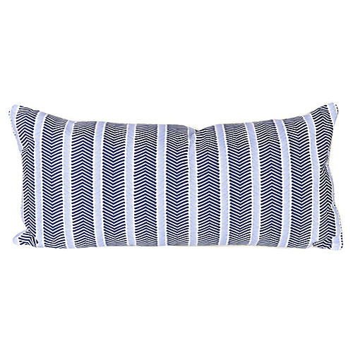 Navy Chevron Lumbar Pillow