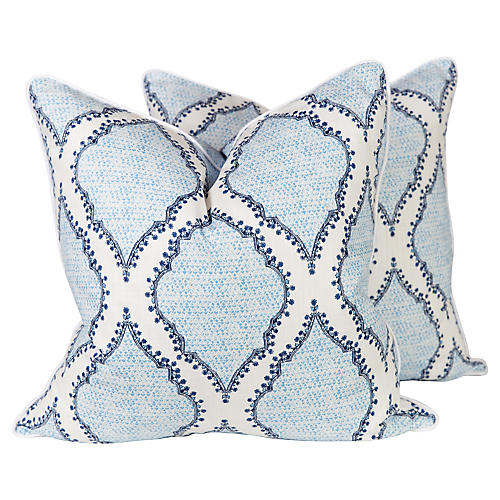Blue and Ivory Ogee Pattern Pillows, Pr
