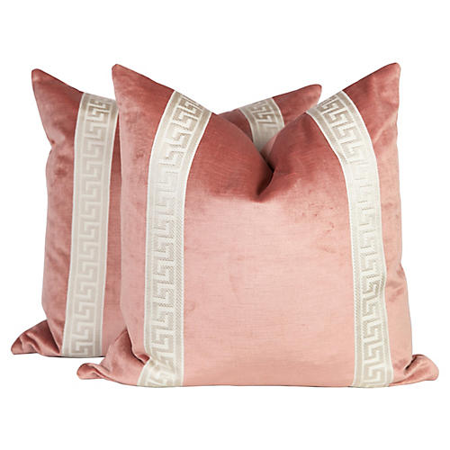 Blush Velvet Greek Key Pillows, Pair