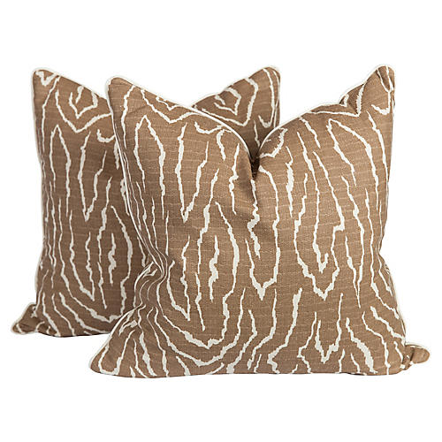 Faux-Bois Linen Pillows, Pair