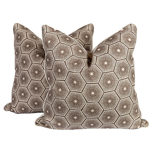 Chocolate Linen Starburst Pillows, Pair