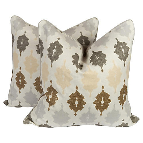 Linen & Velvet Tunis Pillows, Pair