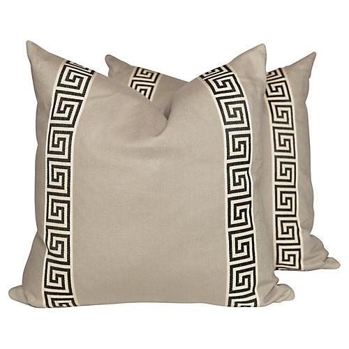 Linen Greek Key Pillows, Pair
