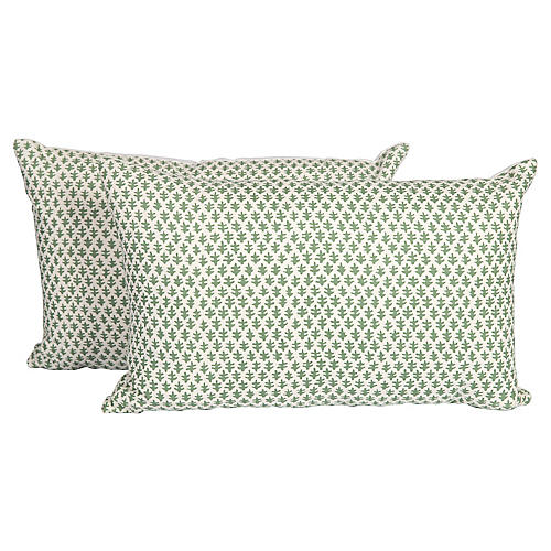 Green Burmese Linen Pillows, Pair