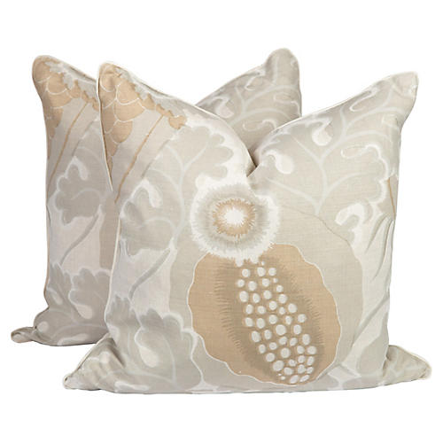 Carnival Natural Linen Pillows, Pair