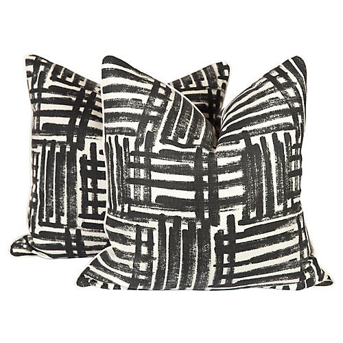 Black & Ivory Graffiti Pillows, Pair