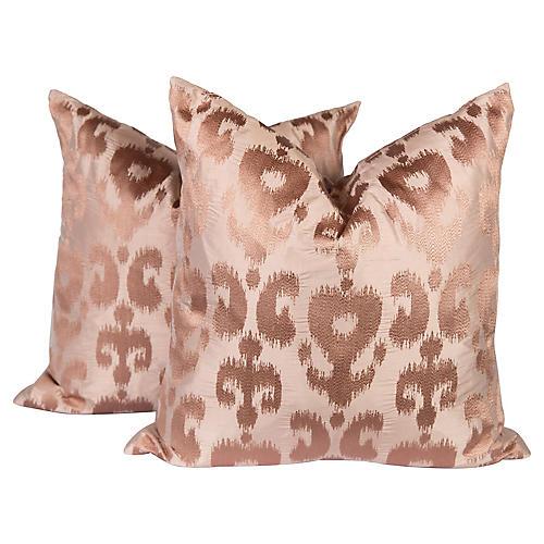Blush Silk Ikat Pillows, Pair