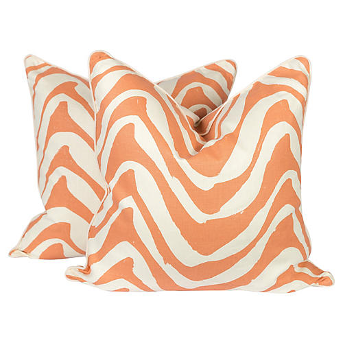 Coral & Ivory Linen Zebra Pillows, Pair