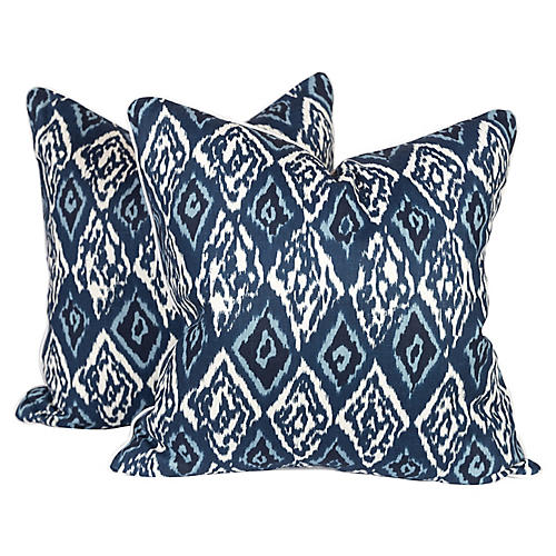 Blue Graffiti Ikat Pillows, Pair