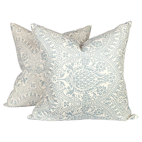 Blue Linen Pineapple Pillows, Pair