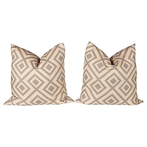 Gray Linen Fiorentina Pillows, Pair