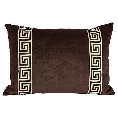 Velvet Greek Key Lumbar Pillow