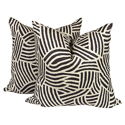 Tribal Linen-Blend Sahara Pillows, Pair