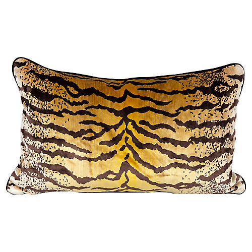 Velvet & Silk Tiger Lumbar Pillow