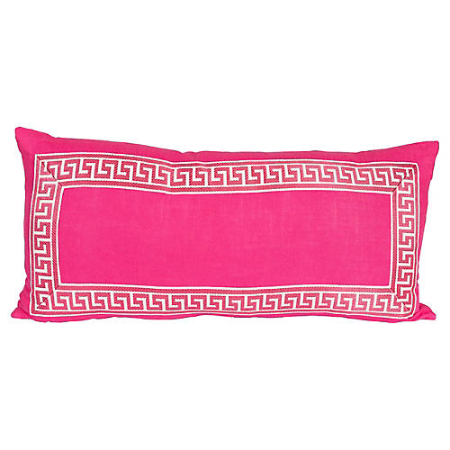Pink Linen Greek Key Lumbar Pillow