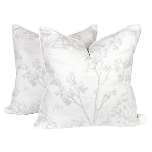 Pale Blue Linen Tree Fauna Pillows, Pr